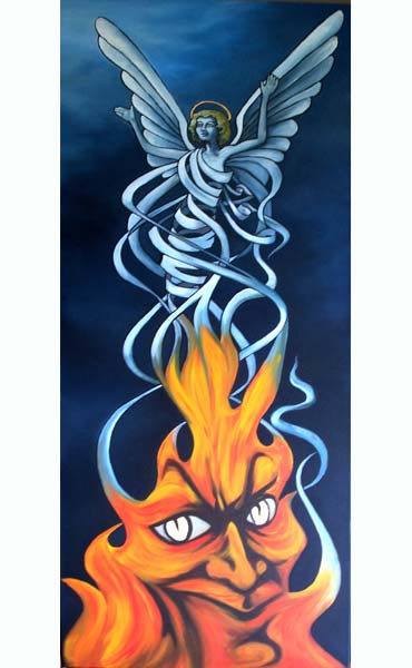Heaven and Hell. 2008. A literal interpretation of the notion of good and evil as intrinsically linked, defining each other, yet with the hope that evil can be sublimated and give rise to good. oil and gold leaf on canvas, 40x100x4cm £625.