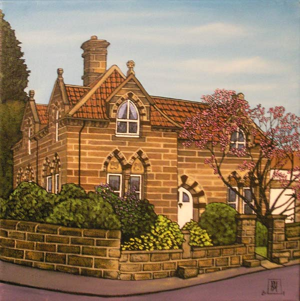 The Lodge, Loftus. oil on canvas, 30x30x4cm. £275. Currently on my wall.