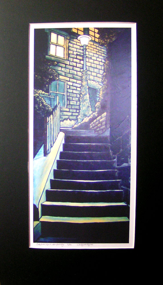 """""""BakeHouse Steps"""", Robin Hood's Bay. No 6 of a limited edition of 50 archival prints, signed and numbered. 17x40cm print in 30x55cm black mount: £60."""