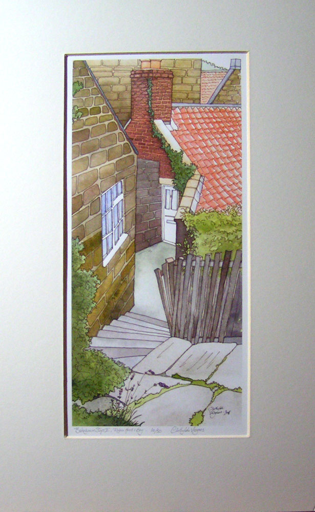 """BakeHouse Steps II"", Robin Hood's Bay. No10 of a limited edition of 50 archival prints, signed and numbered. 16x35cm print in 30x50cm antique white mount: £60."