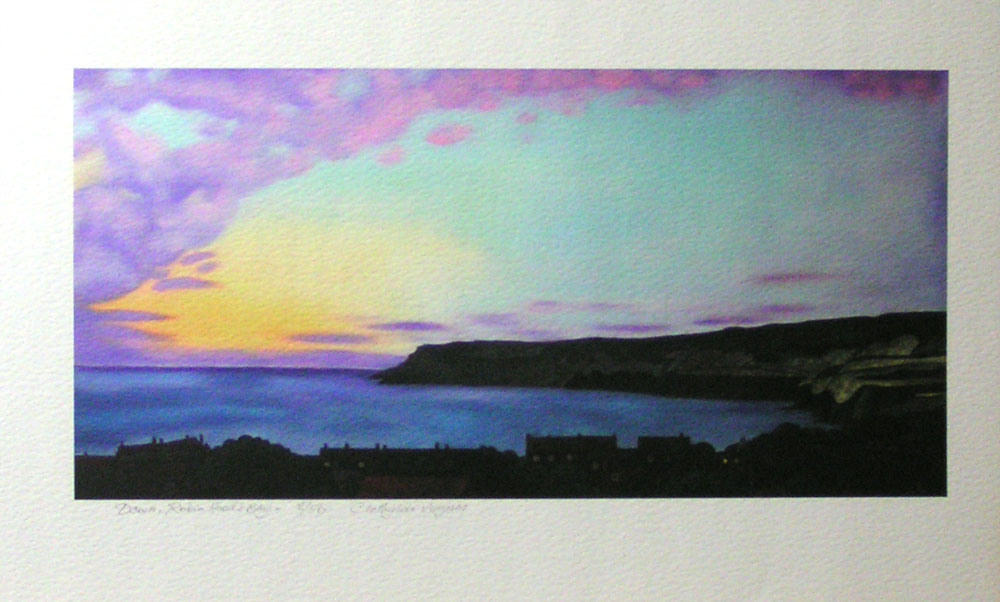 """Dawn"", Robin Hood's Bay. No 2 of a limited edition of 50 archival prints, signed and numbered. 15x30cm print in 30x40cm antique white mount: £60. 15x30cm print unmounted: £50."
