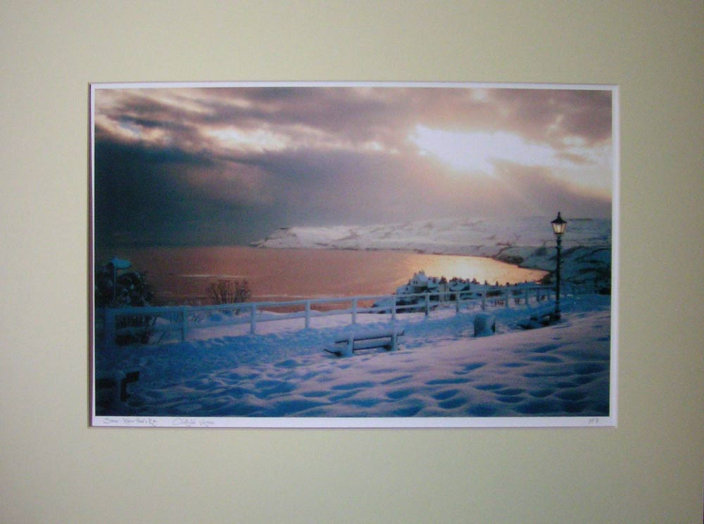 """Snow"", Robin Hood's Bay. Photograph. No 7 of an unlimited edition of archival prints, signed and numbered. 30x50cm print in 50x70cm ivory white mount: £75."