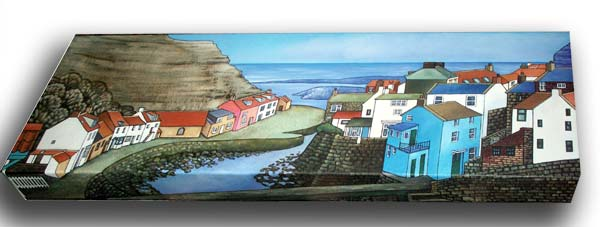 Staithes. oil on canvas, 30x90x7cm. £725.