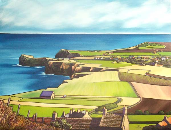 Remembering Summer (Staithes from Boulby Bank). oils on canvas, 60x80cm.