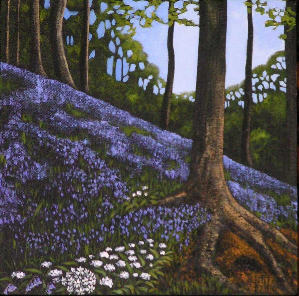 Bluebell Woods VI. Acrylics on canvas, 30x30cm