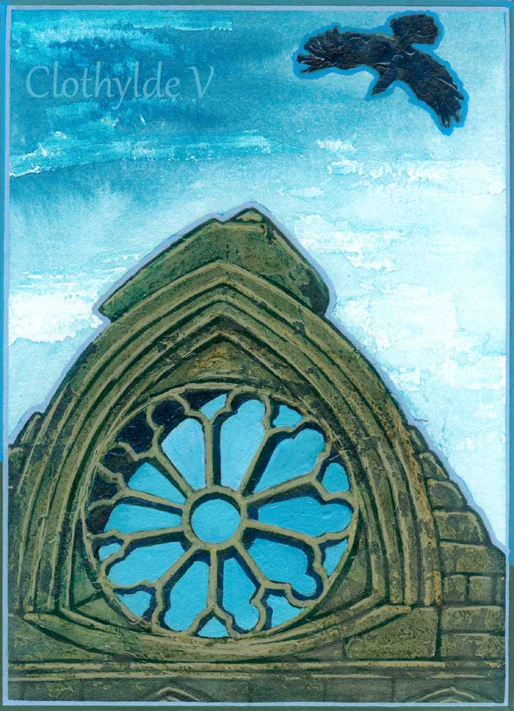 Whitby Abbey Crow. mixed media. 13.8x19cm, approx 5x7