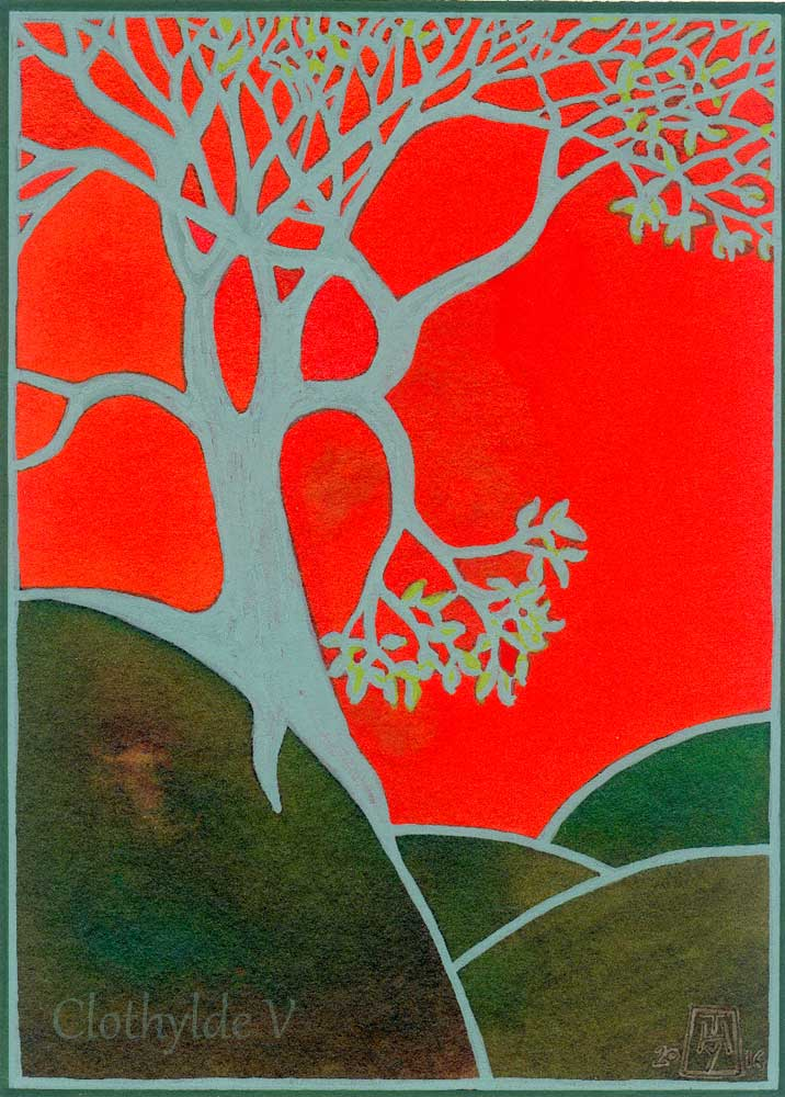 Tree on Red. Acrylic markers and acrylic inks. 14x19.2cm/ approx 8x12