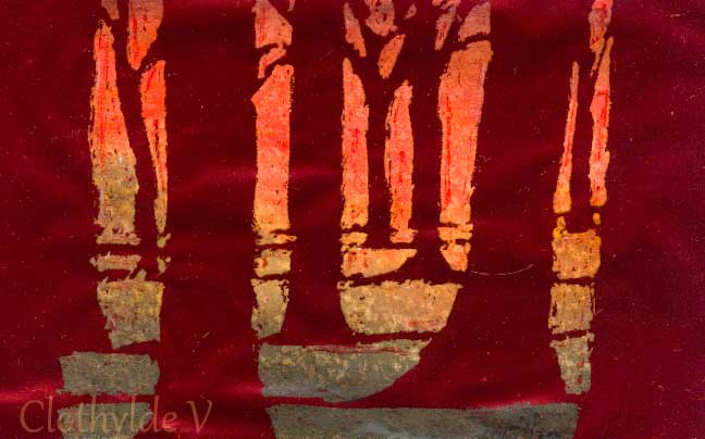 "Red Trees 2. Acrylics & metal leaf. 7x12cm (approx 3x5"")"