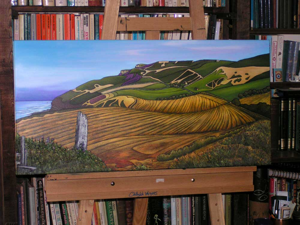 Boulby Cliff. oils. for Mrs B.T., whose mother was born in Warren Cottages (on the hillside).