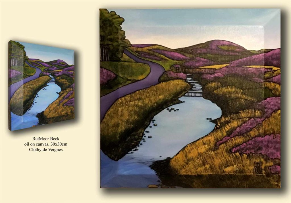 Stape road, and a clear blue beck bordered by heather. Purple hills in the distance.